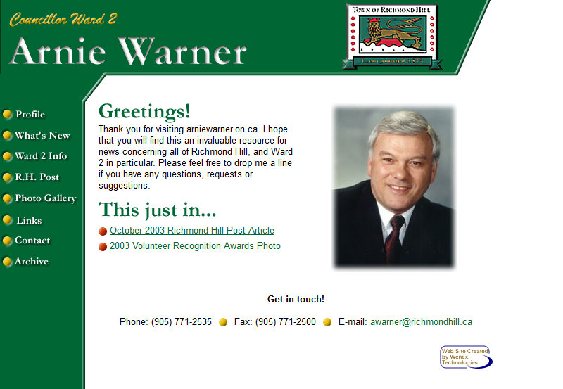 Arnie Warner - Councillor, Ward 2
